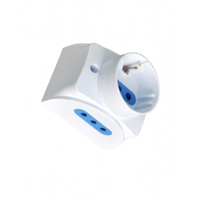 Wall socket with 2 2P+T and 1 Schuko 16A white - Techly - IUPS-PCP-1S2I10A-1