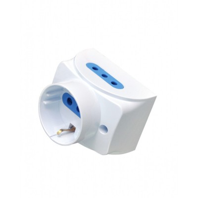 Wall socket with 2 2P+T and 1 Schuko 16A white - Techly - IUPS-PCP-1S2I10A-3