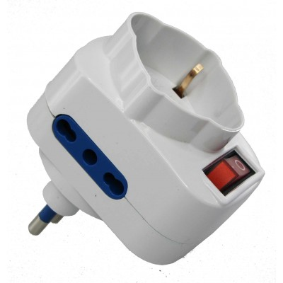 Adapter with Rotating Plug 16A - Techly - IUPS-PCP-2R-3