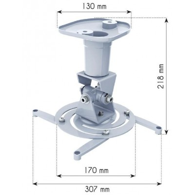 Universal Ceiling Bracket for Projector, White - Techly - ICA-PM 100WH-2