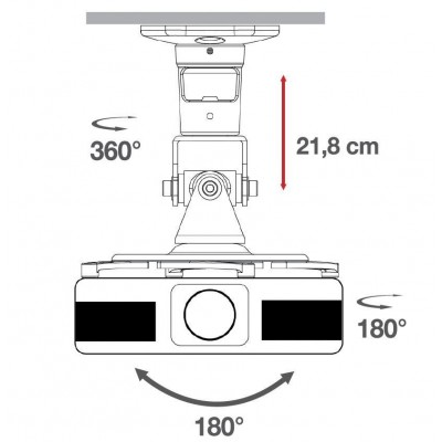 Universal Ceiling Bracket for Projector, Black - Techly - ICA-PM 100BK-3