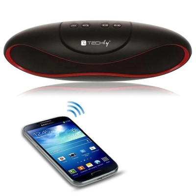 Portable Bluetooth Wireless Rugby Speaker MicroSD/TF Black/Red - Techly - ICASBL01-4