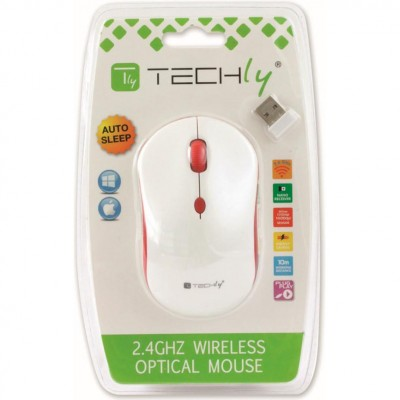 Wireless Mouse 2.4 GHz White / Red - Techly - IM 1600-WT-WRW-1