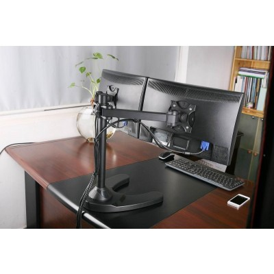 "13""-24"" Desk Stand for 2 Monitor with Base - Techly - ICA-LCD 3510-6"
