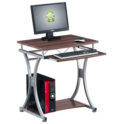 Compact Desk for PC with Removable Tray, Dark Walnut - Techly - ICA-TB 328-1