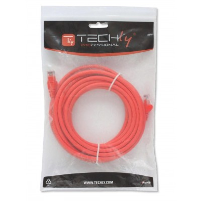 Network Patch Cable in CCA Cat.5E UTP 1m Red - Techly Professional - ICOC CCA5U-010-RET-1
