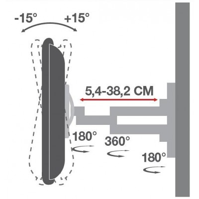 Wall Support for LCD LED 19-37' Full-Motion Black - Techly - ICA-LCD 2923B-3