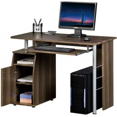 Compact Computer Desk with Four Shelves, Dark Walnut - Techly - ICA-TB 228-2
