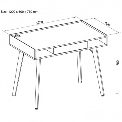 Computer Desk Compact size  - Techly - ICA-TB 3575-2
