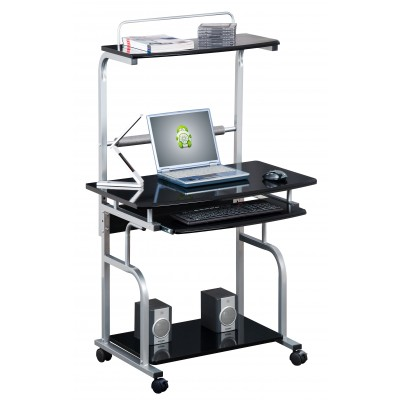 Compact Multi-Function Computer Desk, Glossy Black - Techly - ICA-TB 7800BK-2
