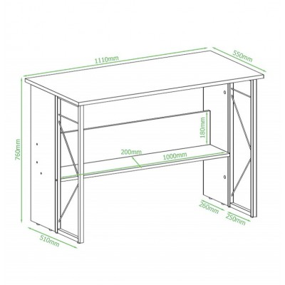 Computer Desk with Modern Design and Sturdy Steel Structure - Techly - ICA-TB-3524C-6