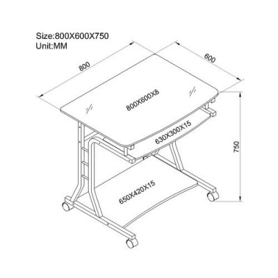 Compact Desk for PC Metal & Glass with Wheels - Techly - ICA-TB 3791A-2