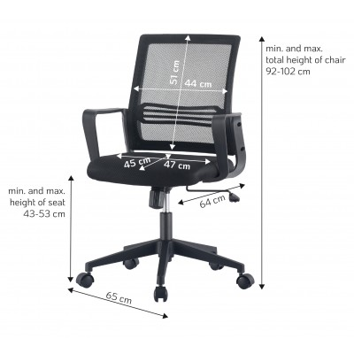 Office Chair with Padded Seat and Mesh Backrest - Techly - ICA-CT MC063BK-4