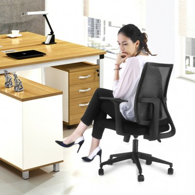 Office chair with padded seat and net fabric back - Techly - ICA-CT MC085BK-10
