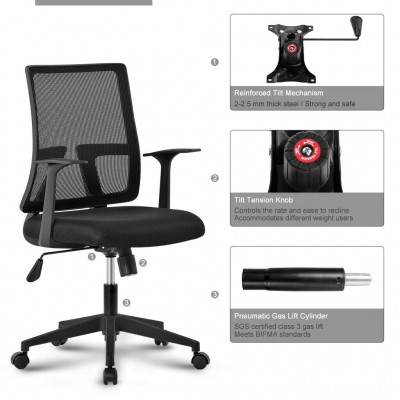 Office chair with padded seat and net fabric back - Techly - ICA-CT MC085BK-8