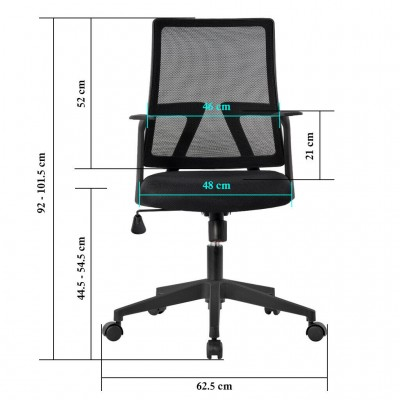 Office chair with padded seat and net fabric back - Techly - ICA-CT MC085BK-6
