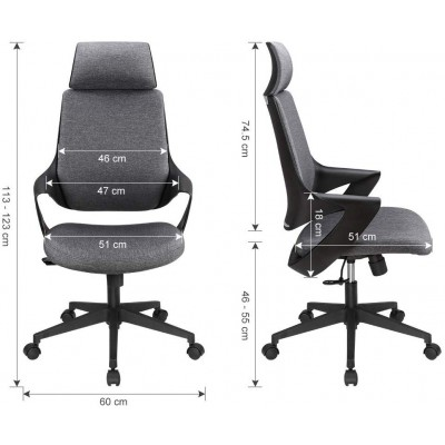Office Chair with High Modern Design Back Grey  - Techly - ICA-CT MC017-5