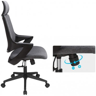 Office Chair with High Modern Design Back Grey  - Techly - ICA-CT MC017-3