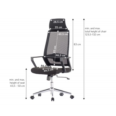 Office Chair with High Back and Black Chromed Base - Techly - ICA-CT MCA033-5