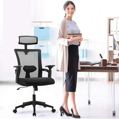 Office Chair with High Back and Adjustable Headrest Black - Techly - ICA-CT MC016-4