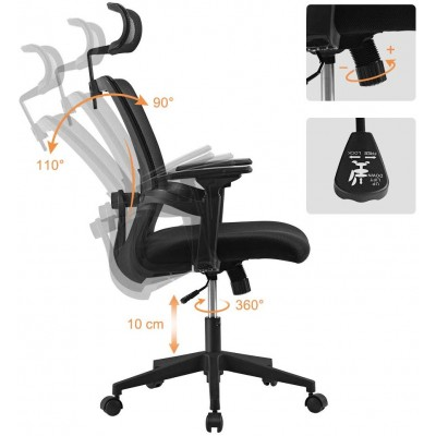 Office Chair with High Back and Adjustable Headrest Black - Techly - ICA-CT MC016-7