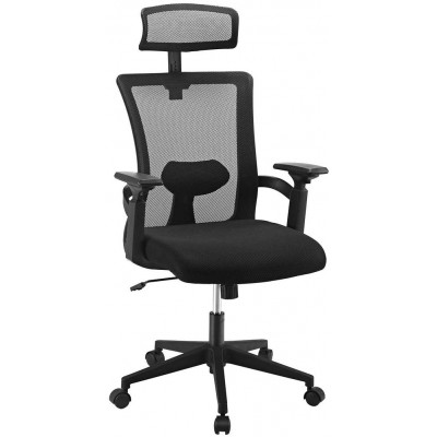 Office Chair with High Back and Adjustable Headrest Black - Techly - ICA-CT MC016-2