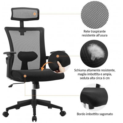 Office Chair with High Back and Adjustable Headrest Black - Techly - ICA-CT MC016-8