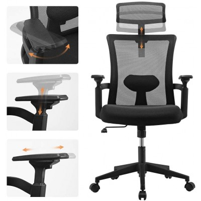 Office Chair with High Back and Adjustable Headrest Black - Techly - ICA-CT MC016-6