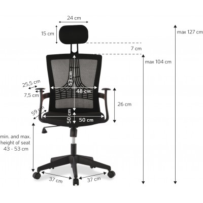 Office Chair with Black High Back - Techly - ICA-CT MC057BK-1