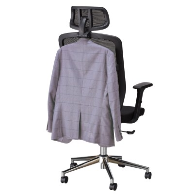 Office Chair with High Back, Headrest and Chrome Base Black - Techly - ICA-CT MC020-8