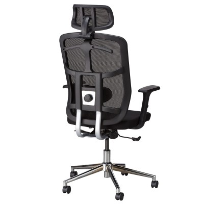 Office Chair with High Back, Headrest and Chrome Base Black - Techly - ICA-CT MC020-3