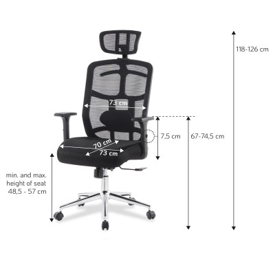 Office Chair with High Back, Headrest and Chrome Base Black - Techly - ICA-CT MC020-9