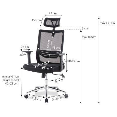 Office Chair with High Backrest Headrest and Chrome Base Black - Techly - ICA-CT MC021-1