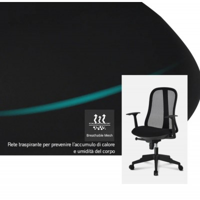 Office Chair with Ergonomic Back Black - Techly - ICA-CT MC086BK-9