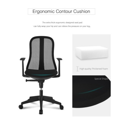 Office Chair with Ergonomic Back Black - Techly - ICA-CT MC086BK-6