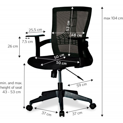Office Chair with Middle Back Black - Techly - ICA-CT MC058BK-2