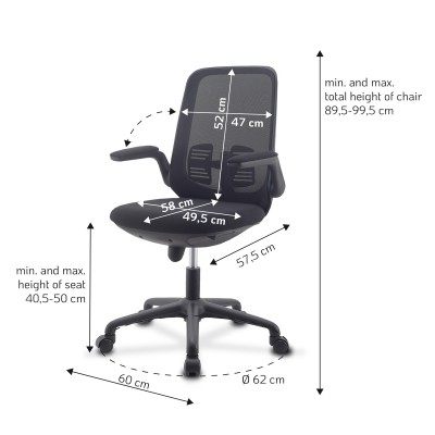 Office Chair Adjustable in Height and Variable Tilt Black - Techly - ICA-CT ARMDL-BK-7