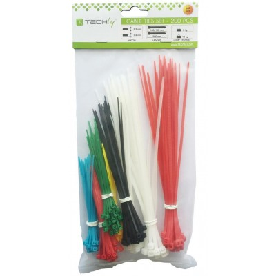 Kit Multicolor Nylon Cable Ties 200 pcs - Techly - ISWT-SET-CL-1