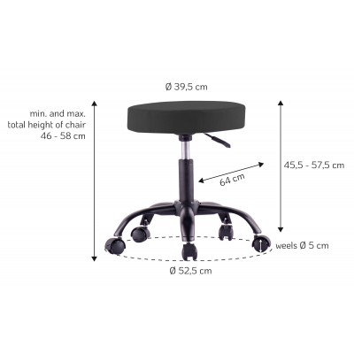Swivel Stool with Wheels Adjustable Height Black Removable Fabric - Techly - ICA-CT SGW-BK-2