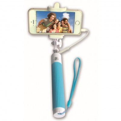 Mini Folding Monopod Telescopic SelfieStick for Smartphone with Cable - Techly - I-TRIPOD-SELFIE-SM-1