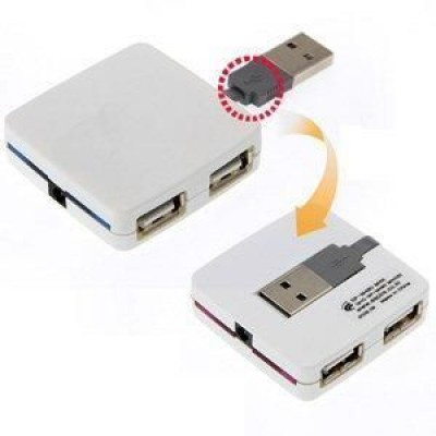Box mini Hub USB 2.0 4 porte Bianco - Techly - IUSB2-HUB4-480WH-4