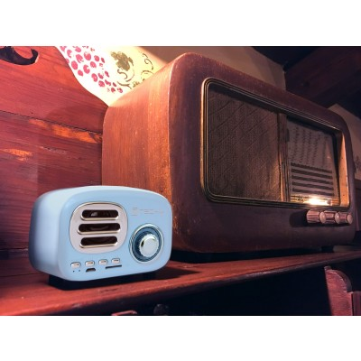 Bluetooth Wireless Speaker, Classic Radio Design, lightblue - Techly - ICASBL12BLUE-6