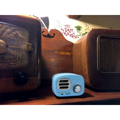 Bluetooth Wireless Speaker, Classic Radio Design, lightblue - Techly - ICASBL12BLUE-7