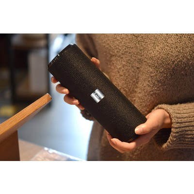 Portable Bluetooth Tube Speaker with FM Radio MicroSD Reader USB 10W Black - Techly - ICASBL21BKT-8