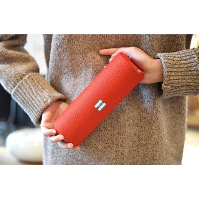 Portable Bluetooth Tube Speaker with FM Radio MicroSD Reader USB 10W Red - Techly - ICASBL21RED-8