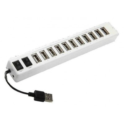 12 ports USB Hub with Switches and Power Supply - Techly - IUSB2-HUB12-2