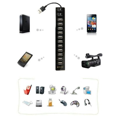 12 ports USB Hub with Switches and Power Supply - Techly - IUSB2-HUB12-6
