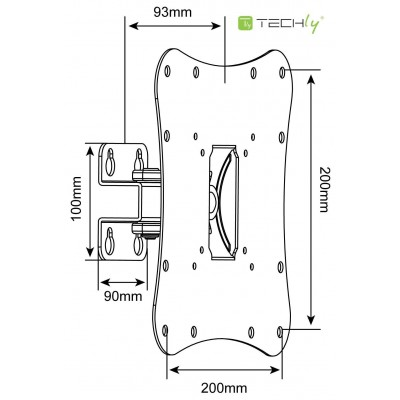 "Wall Bracket for 23-37"" TV  LED LCD 1 joint Black - Techly - ICA-LCD 2800B-2"