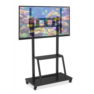 "Multifunction Mobile TV Cart for LED/LCD TV 55-100"" with shelf - Techly - ICA-TR30-1"
