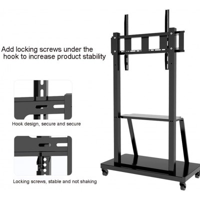 """Multifunction Mobile TV Cart for LED/LCD TV 55-100"""" with shelf - Techly - ICA-TR30-6"""